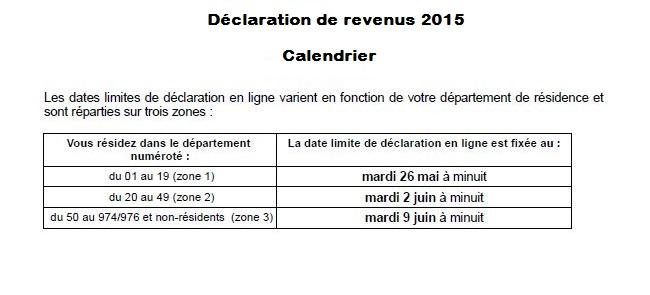 Declaration D Impot Sur Le Revenu 2015 Le Calendrier